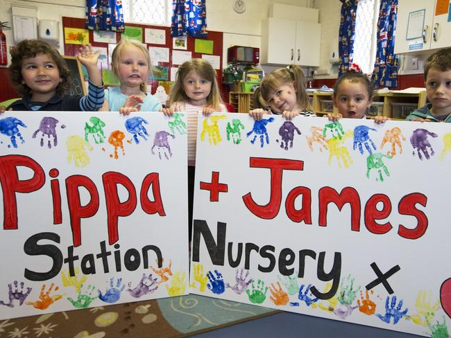 Children at the Old Fire Station nursery in Englefield, Berkshire, UK, with the poster they have made for Pippa Middleton's wedding. Picture by Stephen Lock / i-Images