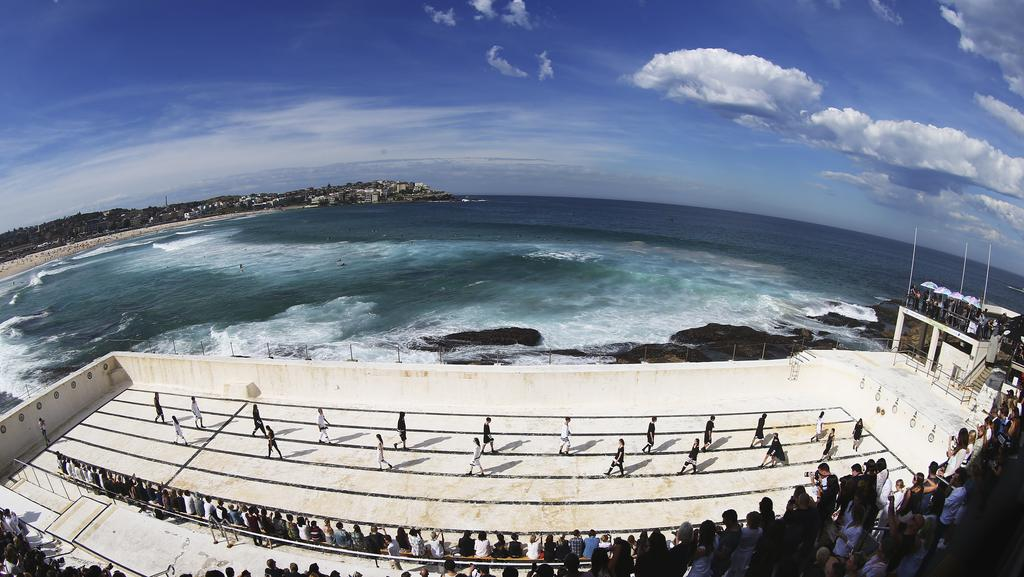 Bondi icebergs pool transformed into a runway as models for Pool show sydney
