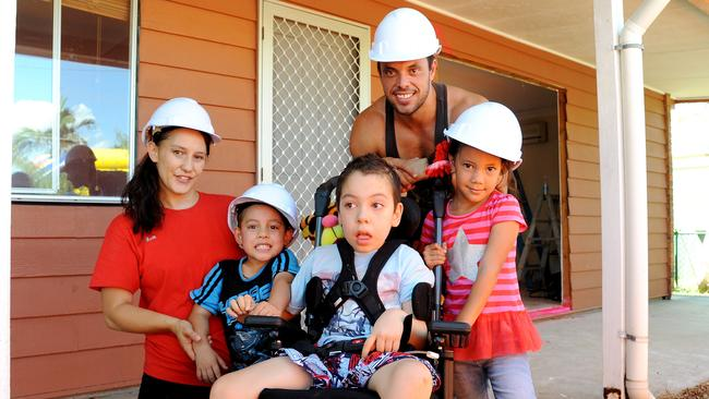 Shanalee and Ben Hoad of Beenleigh, with their children Kya (5), Calyn (8), and Ashanti (6). Picture: Peter Cronin
