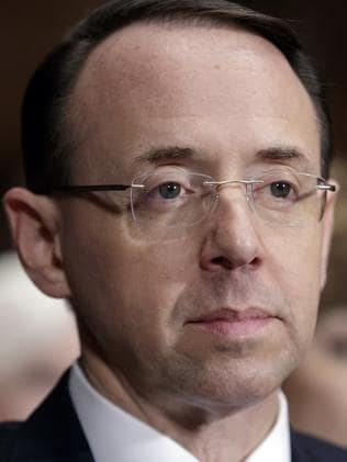 Deputy Attorney General Rod Rosenstein reportedly almost resigned over James Comey's sacking. Picture: AP