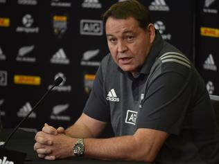 New Zealand All Blacks rugby coach Steve Hansen speaks to the media at a press conference in Auckland on June 22, 2017. The All Blacks will play the British and Irish Lions in the first rugby Test in Auckland on June 24. / AFP PHOTO / PETER PARKS