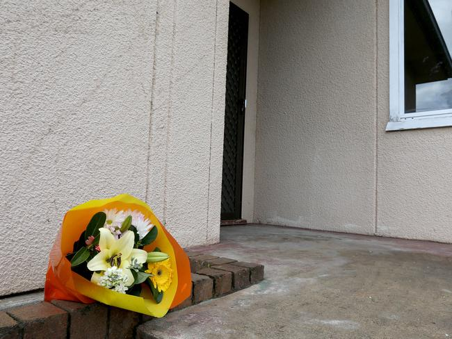 Fresh flowers at the house where the body of Mahmoud Hrouk was found. Picture: Stephen Cooper