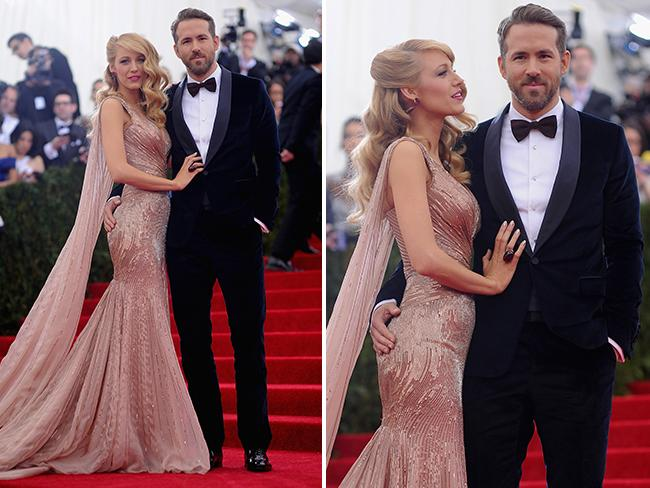 Blake Lively (L) and Ryan Reynolds attend the 'Charles James: Beyond Fashion' Costume Institute Gala at the Metropolitan Museum of Art on May 5, 2014 in New York City. Picture: Getty