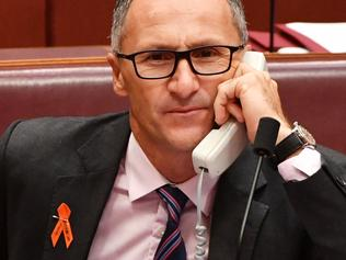 Greens leader Richard Di Natale during an Interactive Gambling Amendment Bill in the Senate chamber at Parliament House in Canberra, Tuesday, March 21, 2017. (AAP Image/Mick Tsikas) NO ARCHIVING