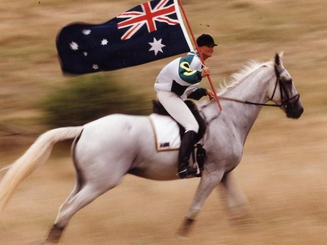 A triumphant Gillian Rolton riding Peppermint Grove. She won gold medal at the Barcelona Olympic Games. She went on to receive an Order of Australia medal.