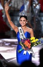 Miss Philippines 2015, Pia Alonzo Wurtzbach, who was mistakenly named as First Runner-up, reacts as she is named the 2015 Miss Universe during the 2015 Miss Universe Pageant. Picture: Getty