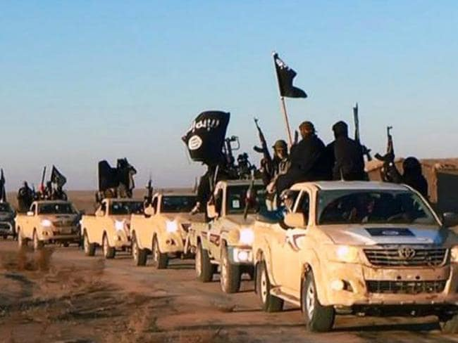 A convoy of vehicles and fighters from earlier this year. Picture: File/AP