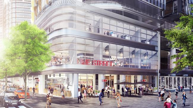 An artist's impression of the deli and providore offering planned for Lime Street at Barangaroo.