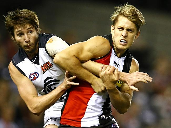 Dempster kept Carlton's Dale Thomas very quiet in Round 8. Picture: Michael Klein