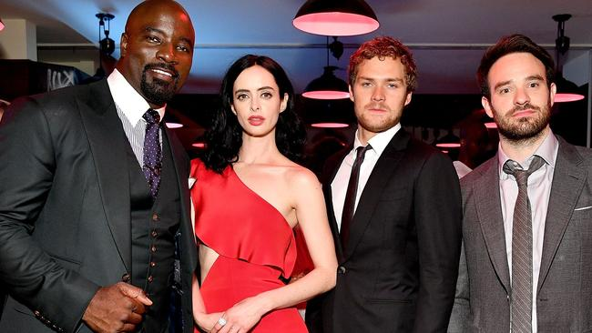 Mike Colter, Krysten Ritter, Finn Jones and Charlie Cox star in The Defenders. Picture: Dia Dipasupil