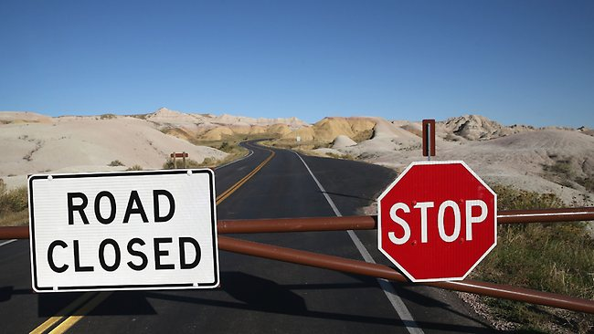 The Badlands National Park is one of many closed across America. Scott Olson/Getty Images/AFP