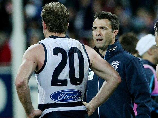 Chris Scott had to have a chat with Johnson. Picture: Colleen Petch
