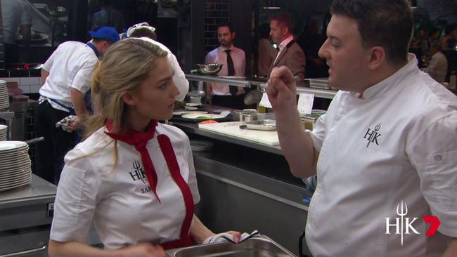 Sam Frost clashed with the sous chef on Hell's Kitchen.
