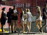 <p>Schoolies gather near the hub on the Gold Coast. Picture: Marc Robertson</p>