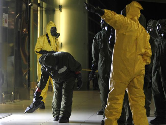 A hazmat team member scans the decontamination zone at Kuala Lumpur International Airport 2 in Sepang, Malaysia. Picture: AP