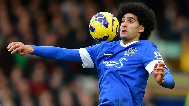 Everton's Marouane Fellaini controls the ball during the English Premiership 3-3 draw with Aston Villa at Goodison Park. Picture: Andrew Yates