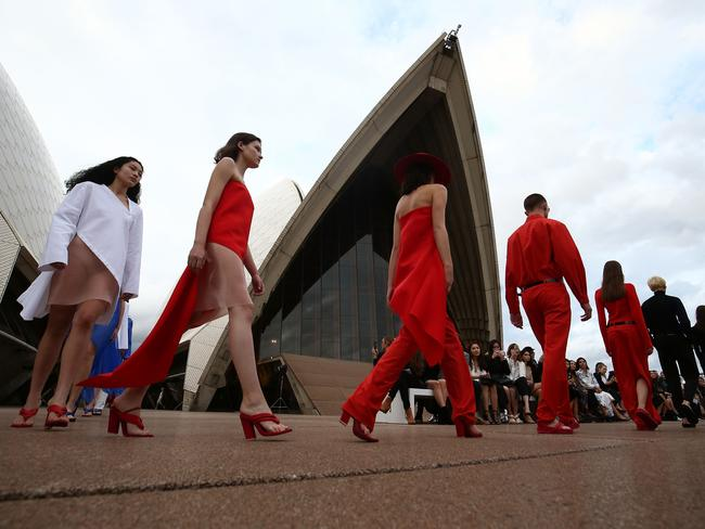 Models walk the runway during the Mercedes-Benz Presents Dion Lee show at Mercedes-Benz Fashion Week Resort 18 Collections at the Sydney Opera House. Picture: Mark Metcalfe