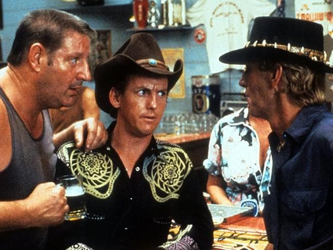 Paul Hogan in a scene at the Walkabout Hotel in Crocodile Dundee. Picture: 20th Century Fox