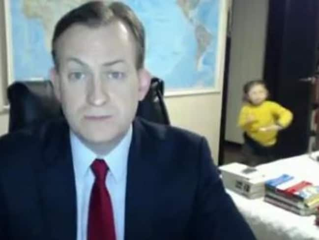 Professor Robert Kelly gets interrupted by his children live on air. Picture: BBC.