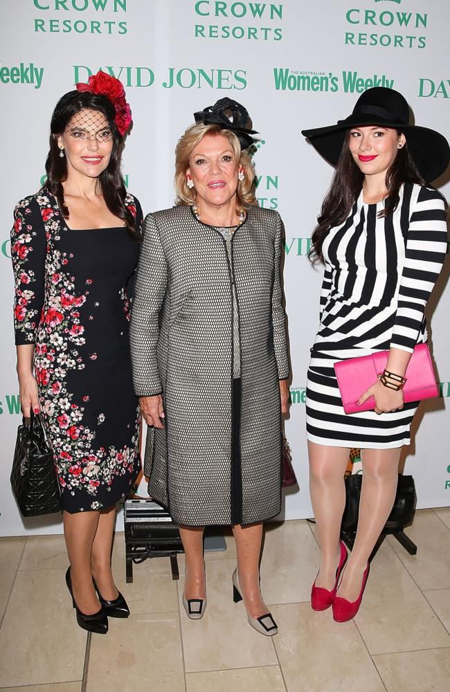 Roslyn Packer, Gretel Packer and Francesca Packer arrive at the David Jones and Crown Resorts Autumn Racing Ladies Lunch at David Jones in Sydney, Australia. Source: Getty Images