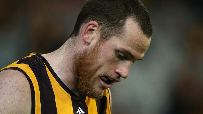 Hawthorn's Jarryd Roughead was reported for tripping. Pic: George Salpigtidis