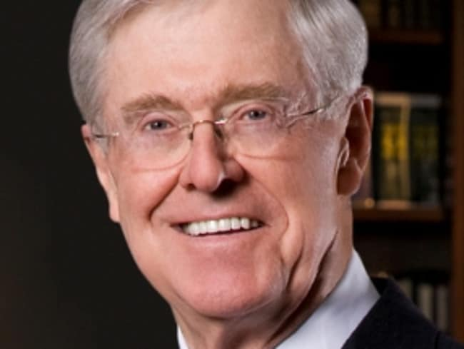 Charles Koch, along will brother David, is worth $US94 billion.
