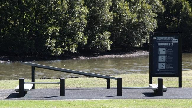 A lot of parks, like this one on the Cooks River Fitness Trail, have free gym equipment these days. Picture: Craig Wilson