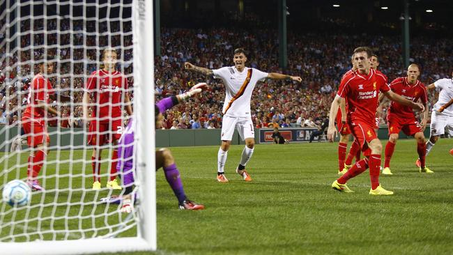 Roma scored a late winner against Liverpool in Boston.