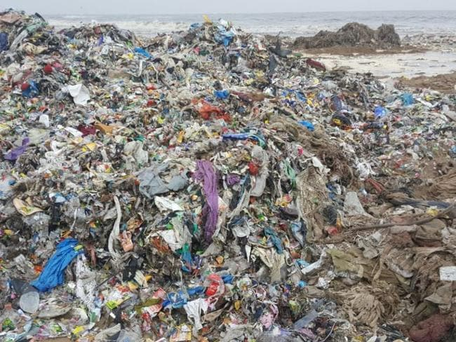 Versova beach before the clean-up. Picture: Twitter