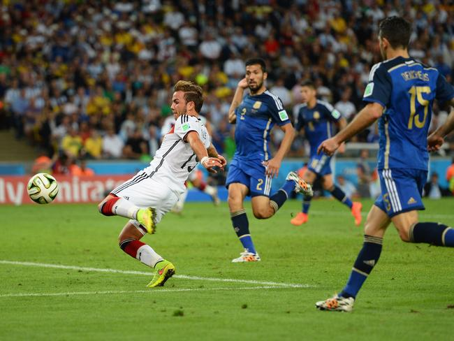 Mario Goetze scores the winner for Germany in the World Cup final.