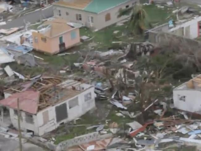 The destruction wreaked on homes in Barbuda, where 60 per cent of people are now homeless. Picture: ABS TV/Radio/Facebook