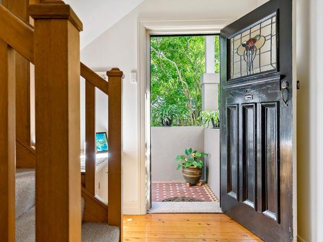 The front door of 4 Kangaroo St, Manly. The house sold for $3.625 million.