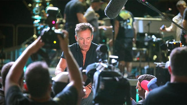 The Boss flanked by media during rehearsals in Brisbane this afternoon. Picture: Jamie Hanson