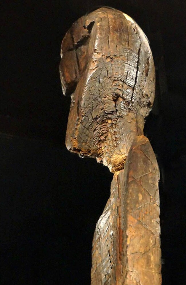 Face of the ages ... A side profile of the face at the top of the Shigir Idol. Source: Siberian Times.
