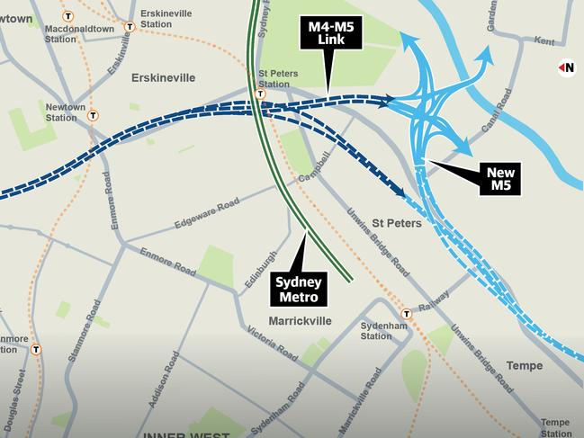 The map showing where six tunnels will be dug under Newtown
