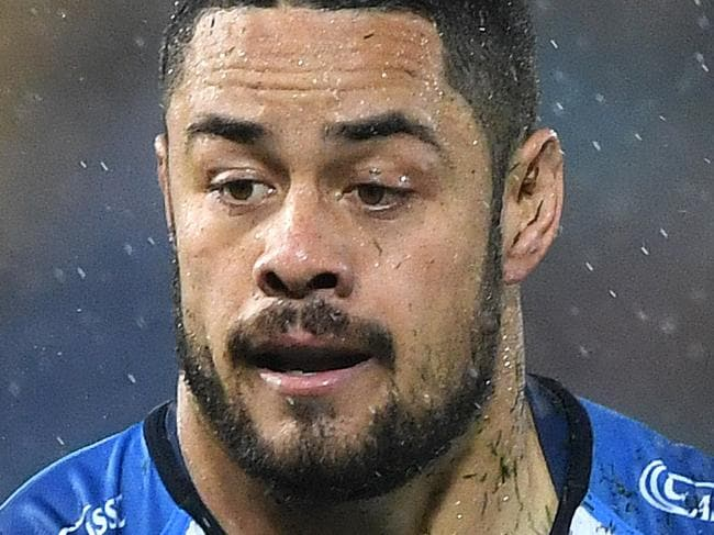 Titans player Jarryd Hayne during the Round 19 NRL match between the Gold Coast Titans and the Cronulla Sharks at CBUS Stadium on the Gold Coast, Saturday, July 15, 2017. (AAP Image/Dave Hunt) NO ARCHIVING, EDITORIAL USE ONLY