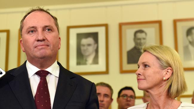 Newly elected Nationals leader Barnaby Joyce with deputy leader Fiona Nash.