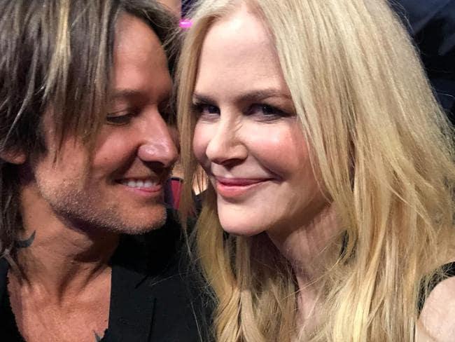 Nicole Kidman and husband Keith Urban during the 2017 American Music Awards. Picture: Nicole Kidman/Facebook
