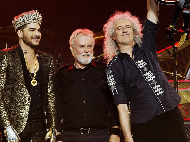 Lambert with Roger Taylor and Brian May. Picture: Supplied