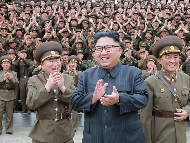 This picture taken on August 14, 2017 and released from North Korea's official Korean Central News Agency (KCNA) on August 15, 2017 shows North Korean leader Kim Jong-un. Picture: AFP.