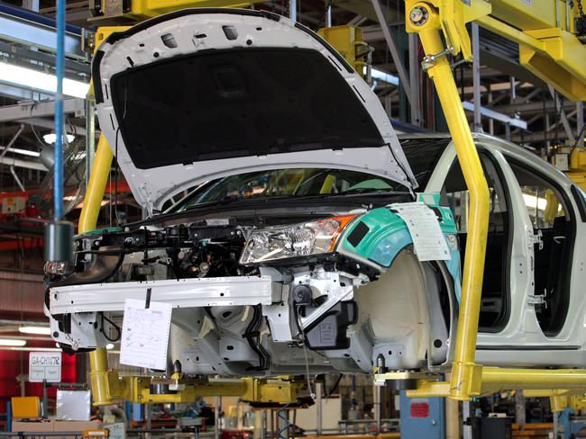Sales plummeting ... The first Holden Cruz hatch on the production line at the Holden plant in Elizabeth.