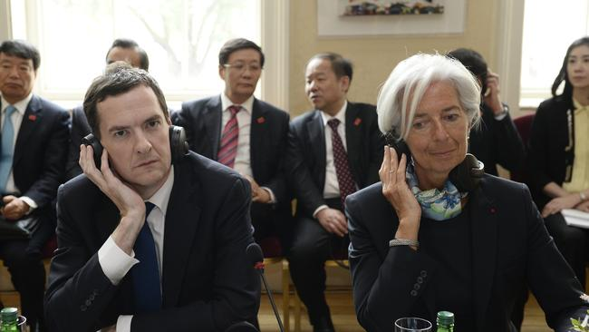 Christine Lagarde with Britain's Chancellor of the Exchequer, George Osborne.