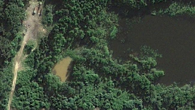 A satellite image of the area near the Glass House Mountains where the search for Daniel Morcombe's body was concentrated. Pic: Google Maps