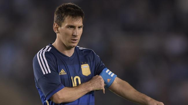 Argentina's forward Lionel Messi lines up against Trinidad and Tobago.