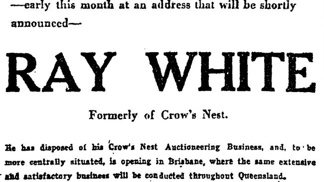 Newspaper advertisement for the first Ray White in Brisbane. Picture: supplied.