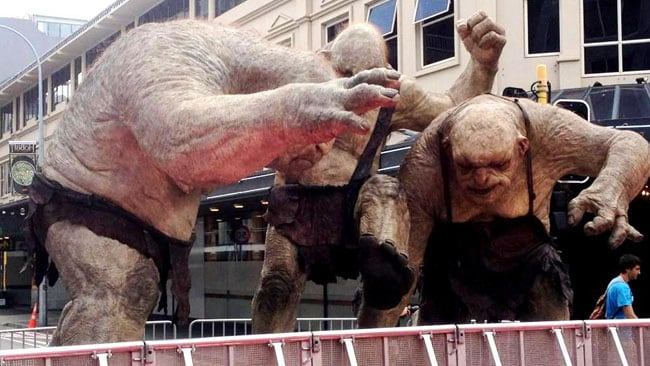Three massive cave trolls join the hobbits, elves and hundreds of fans in Wellington. Picture: Matias Usategui / Twitter