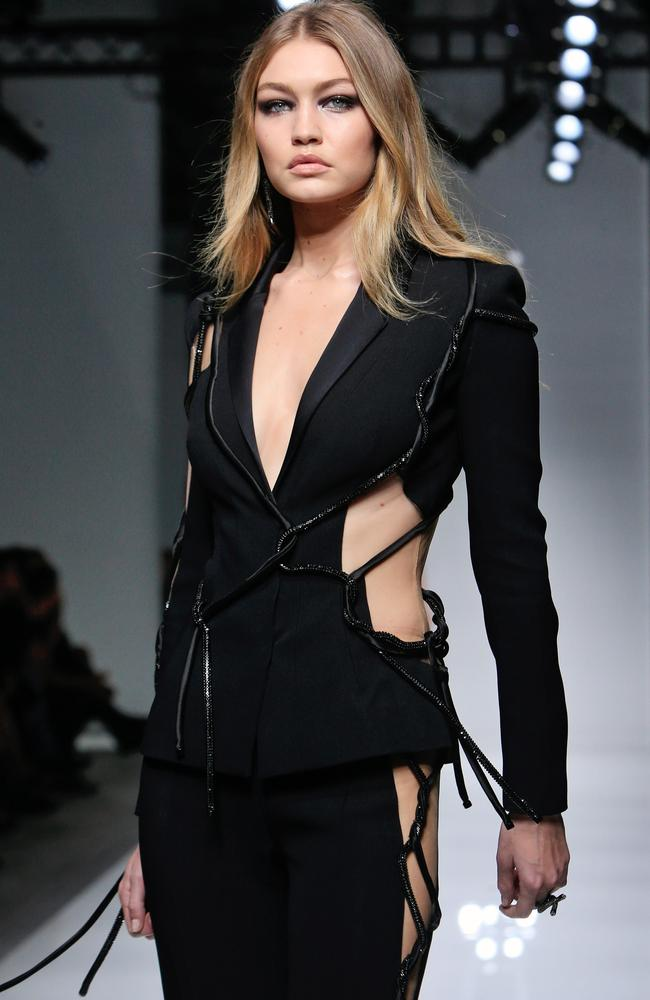 Modern muse ... Gigi Hadid models for Versace in Paris. Picture: AP Photo/Thibault Camus