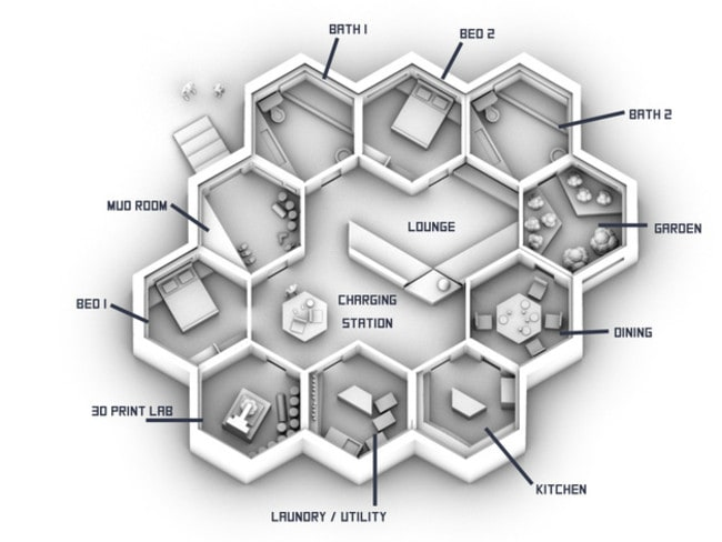 Inside the hive ... the modularity of the hexagonal modules allows for a wide variety of configurations. Source: NASA