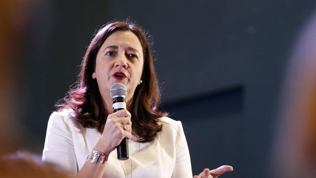 Queensland Premier Annastacia Palaszczuk, pictured in Ipswich, talking to residents on Tuesday. Picture: AAP Image/Josh Woning