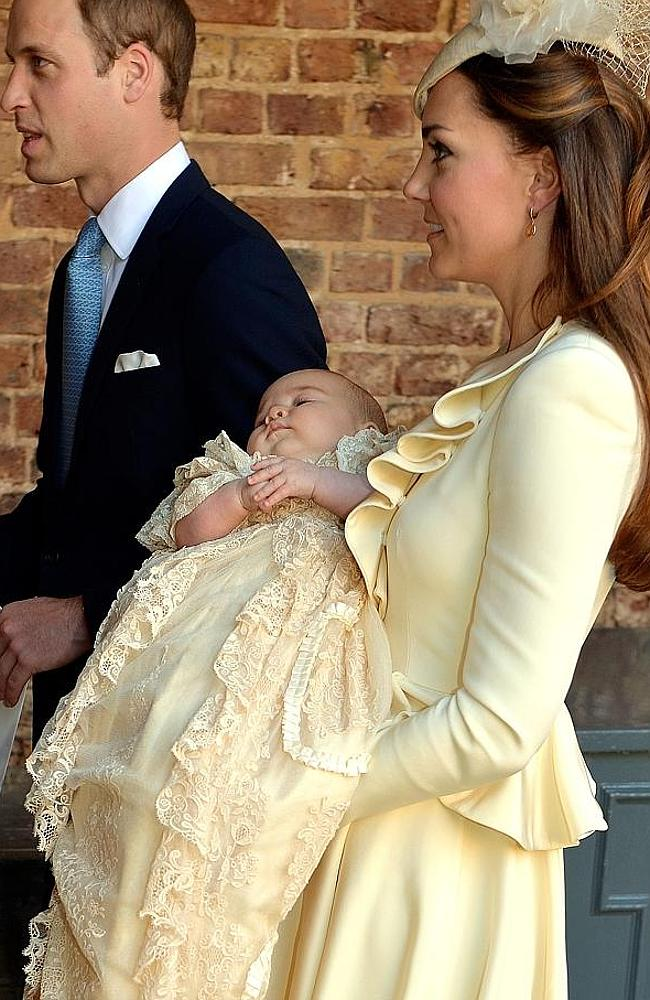 We will call you George: The baby Prince with William and Kate. Picture: AP